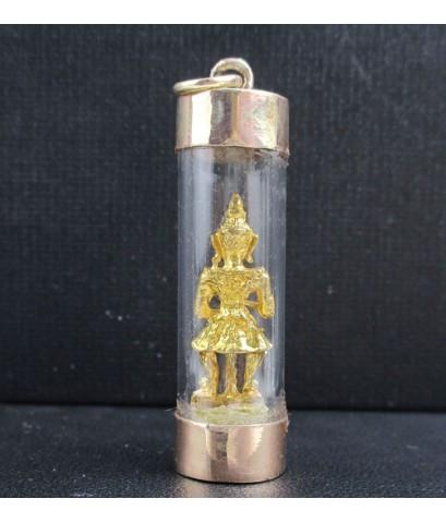 ท้าวเวสสุวรรณ กะไหล่ทอง ครอบแก้ว เลี่ยมนาก40 นน. 4.30 g