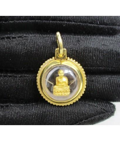 พระหลวงปู่ทวด วัดช้างให้ เนื้อทองคำ เลี่ยมทองเก่า นน. 7.04 g