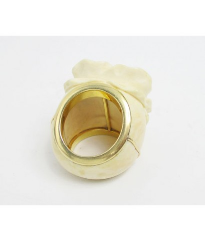 แหวน ดอกกุหลาบ แกะสลัก ทองK งานเก่า หลุดจำนำ งานสวยมาก นน. 19.61 g