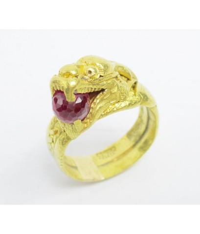 แหวน มังกร คาบแก้ว ทอง100 งานเก่า ทองโบราณ สวยมาก นน. 15.66 g