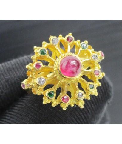 แหวน 3 สี ทับทิม มรกต เพชรซีก ยอดทับทิม ทอง90 งานสวยมาก นน. 4.52 g