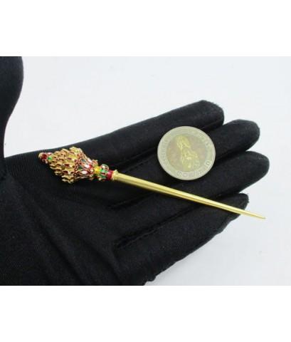 ปิ่นปักผม ทองลงยา ยอดเพชร ทอง90 งานเก่า ทองโบราณ สวยมาก นน. 16.18 g