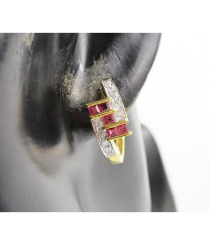 ต่างหู ห่วงทับทิม Princess คั่นเพชรเกสร 20 เม็ด 0.40 กะรัต ทอง18K งานสวยมาก นน. 6.64 g