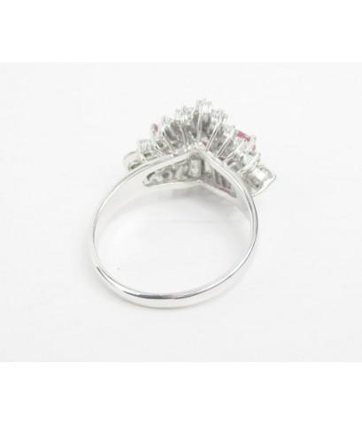 แหวน ทับทิม เจียร 3 เม็ด ล้อมเพชร 20 เม็ด 0.40 กะรัต งานทองขาวโบราณ(ปาหะ) นน. 3.52 g