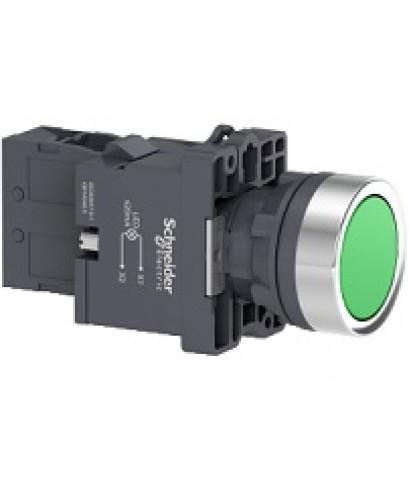 [S44]Schneider Electric XA2สวิตช์ปุ่มกดมีไพล็อคทแลมป์LED Ø 22มม.แบบพลาสติกXA2EW33B1สีเขียวราคา176บาท