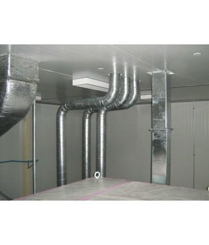 งานผลิต ติดตั้งท่อระบายอากาศ (Exhaust) ของเครื่องจักรพิมพ์   หน้างาน บริษัท ปทุมเฟล็กซ์ จำกัด