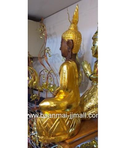 พระพุทธรูปไม้แกะสลักมือลงลักปิดทอง