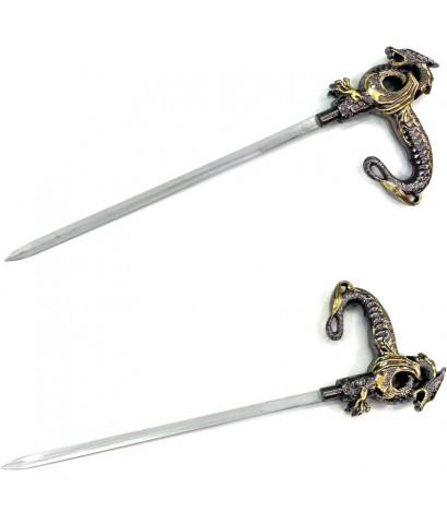 walking stick knife . ไม้เท้าซ่อนมีด ( ด้ามมังกรทอง)