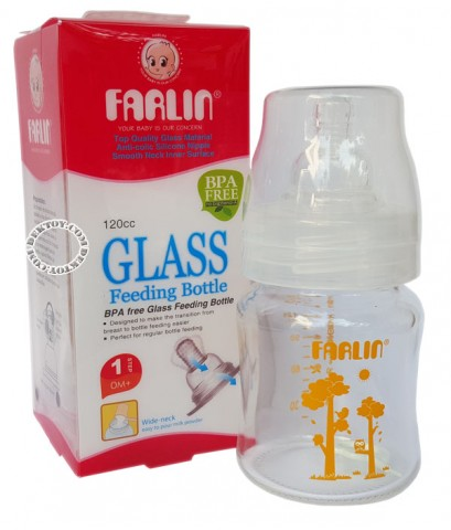 ขวดนมแก้วคอกว้างฟาร์ลิน-Farlin 120 CC สีส้ม TOP810G