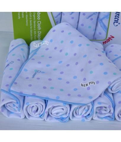 Pureen เพียวรีน ผ้าอ้อมเยื่อไผ่เพียวรีนสีฟ้า 29 x 29 นิ้ว 6 ผืน Organic Bamboo Cloth Diaper