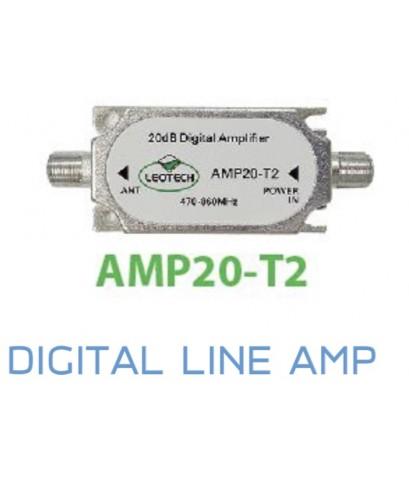Line Amp ขยายสัญญาณเสาดิจิตอลทีวี Leotech AMP20-T2