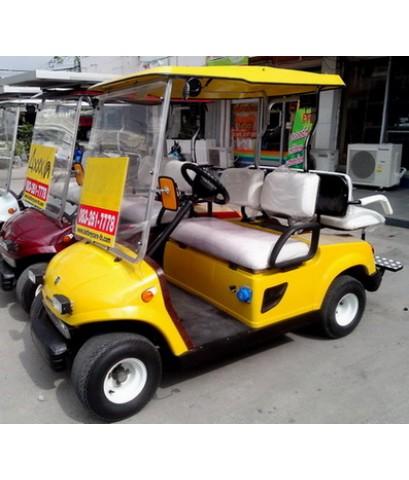 รถกอล์ฟไฟฟ้าโซล่าเซลล์ SOLAR-EVO 2-4 ที่นั่ง สีเหลือง รถกอล์ฟไฟฟ้าพลังแสงอาทิตย์