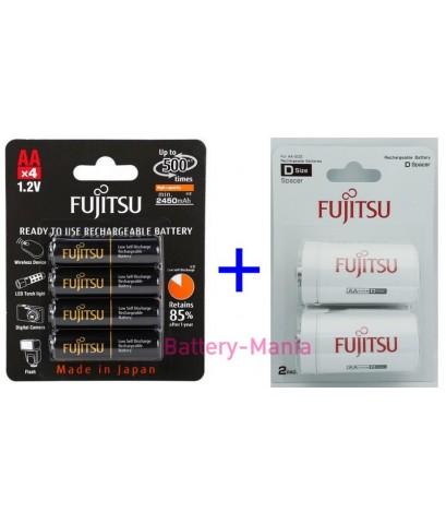 Fujitsu FDK ชุดประหยัด size D Combo Set ถ่านชาร์จ AA 2550 mah แถมฟรี Adapter แปลงถ่านเป็น size D
