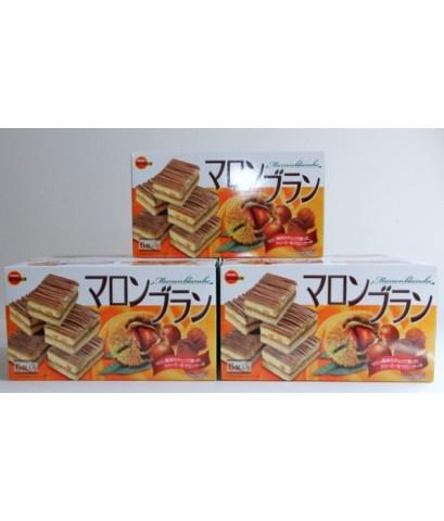 NEW BOURBON Marron blanche เค้กเกาลัดญีปุ่น ราดด้วยช็อคโกแล็ตกรอบ ขนาด 6 ชิ้น