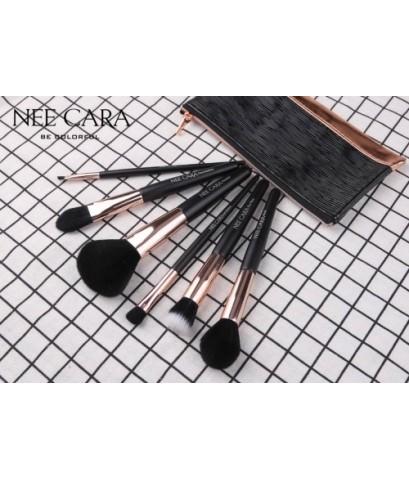 แปรง Nee cara 6 ชิ้น ขนาดมาตรฐานพร้อมกระเป๋าเก็บแปรงสีดำหรูหรา