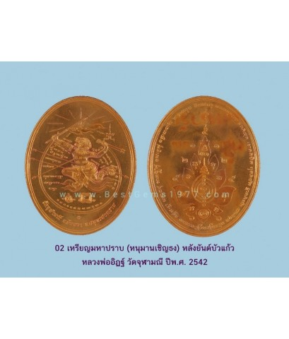 02EIL เหรียญหนุมานเชิญธง วัดจุฬามณี เนื้อทองแดงบล๊อคกษาปณ์ 2542