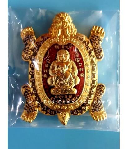 3.9 เหรียญเต่า ป.หลิว วัดสี่แยกเจริญพร  กะไหล่ทอง ลงยาแดง พิมพ์ใหญ่