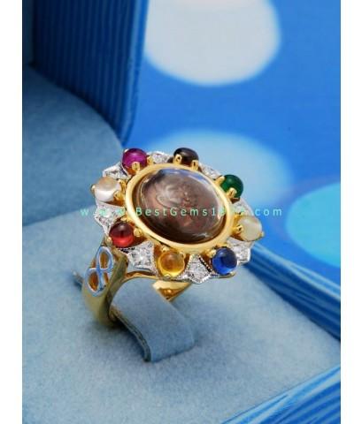 0200708A เม็ดกระดุมหลวงปู่คำพันธ์ เลี่ยมหัวแหวนล้อมนพเก้า