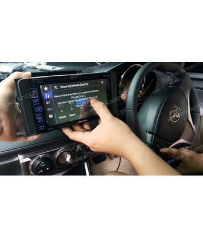 TOYOTA YARIS โฉมใหม่ ใช้งาน set promotion PIONEER AVH-175DVD+satview digital TV เพิ่มเติมกล้องมองหลั
