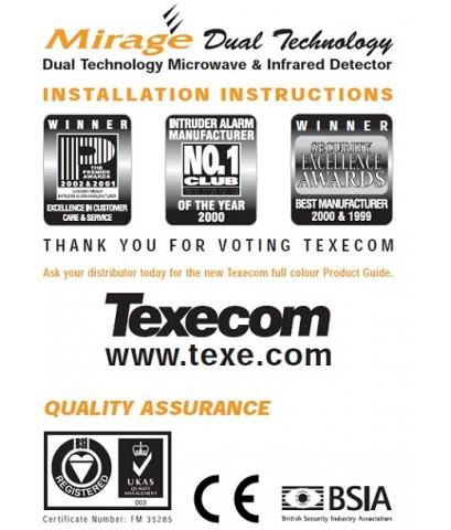 Texecom  Mirage DT Mirage Dual technology PD6662:2010 50131 Grade2 Class II