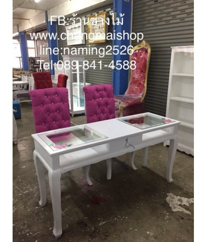 โต๊ะเพ้นท์เล็บ สีขาวเพ้นท์ลาย