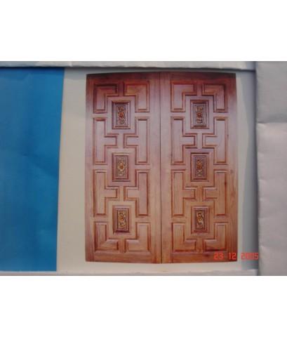 บานประตูไม้สัก  บานคู่ (8010)