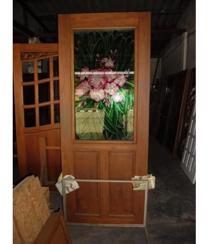 บานประตูใส่กระจก ลายสี ( 8098 )