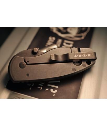 มีดพับ DPX Gear HEAT/F Gray Stonewash Niolox Blade, Black G10 and Titanium Handles (DPHTF009)