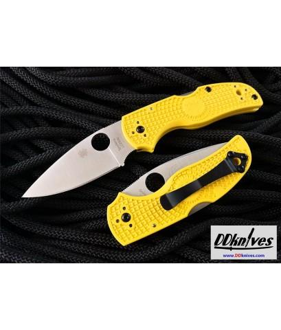 มีดพับ Spyderco Native 5 Salt Folding Knife LC200N Satin Plain Blade, Yellow FRN Handles (C41PYL5)
