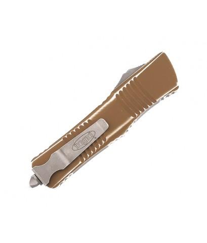 มีดออโต้ Microtech Combat Troodon T/E OTF Apocalyptic Blade Distressed Tan Handle (144-10DTA)