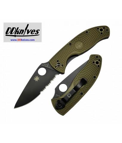 มีดพับ Spyderco Tenacious Lightweight Black Combo Blade, OD Green FRN Handles (C122PSODBK)