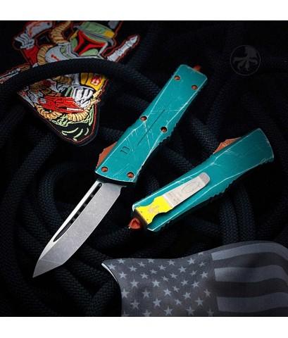มีดออโต้ Microtech Combat Troodon Tanto Bounty Hunter Automatic Knife Apocalyptic Blade (144-10BH)