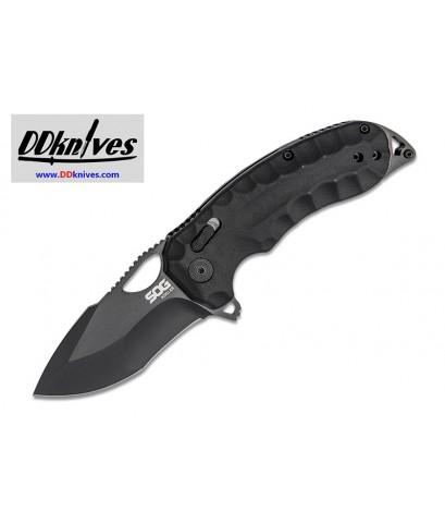 มีดพับ SOG Kiku XR CTS-XHP Black Cerakote Plain Blade, Black Linen Micarta Handles (12-27-02-57)