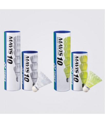ลูกแบตมินตัน yonex รุ่น พลาสติก mavis 10 (สีขาว w, เหลือง y) บรรจุ 6 ลูก