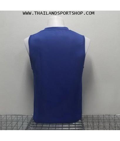 เสื้อวิ่งคอวี วอริค WARRIX รหัส WA 1615 (สีกรม DD) ผ้าทอลาย