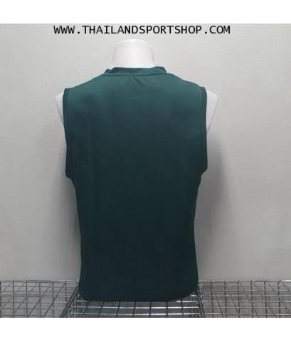 เสื้อวิ่งคอวี วอริค WARRIX รหัส WA 1615 (สีเขียว GG) ผ้าทอลาย