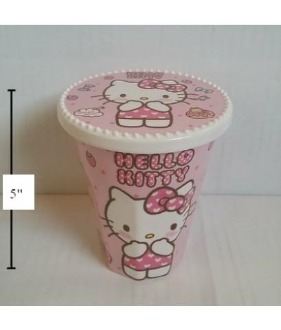 แก้วเมลามีน พร้อมฝา (ฝาปิด เอามาเป็นจานรองแก้วได้คะ ลาย Kitty คิตตี้ ขนาดสูง 5 เส้นผ่าศูนย์กลาง 3.5