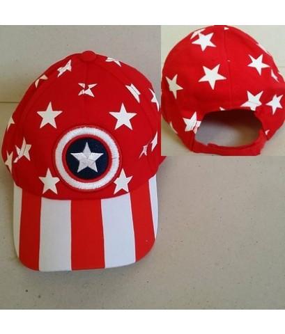 หมวกแก๊ป อเวนเจอร์ Avengers กัปตันอเมริกา Captain America ด้านหลังเป็นเมจิกเทป ปรับได้ 1-2 นิ้วค่ะ