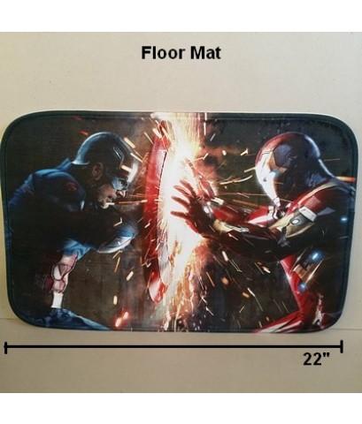 พรมเช็ดเท้า สี่เหลี่ยม ด้านหลังเป็นยาง ลาย อเวนเจอร์ Avengers กัปตันอเมริกา Captain america  Ironma