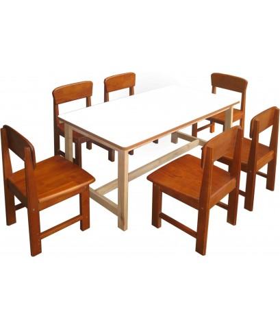 โต๊ะและเก้าอี้เด็กเล็กขนาดนั่ง 6 คน