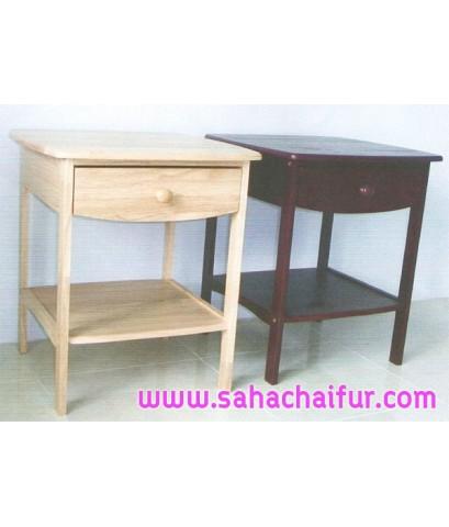 โต๊ะข้างหัวเตียงไม้ยางพาราแท้ มี2สี สีโอ๊ค และ สีธรรมชาติ