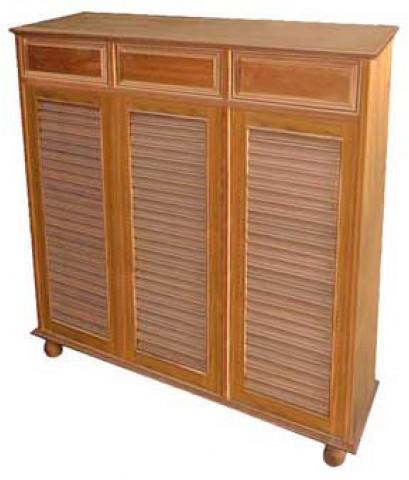ตู้ รองเท้า บานเกร็ด w120*d30*h120ขาถ้วย รางเหล็ก 3ประตู