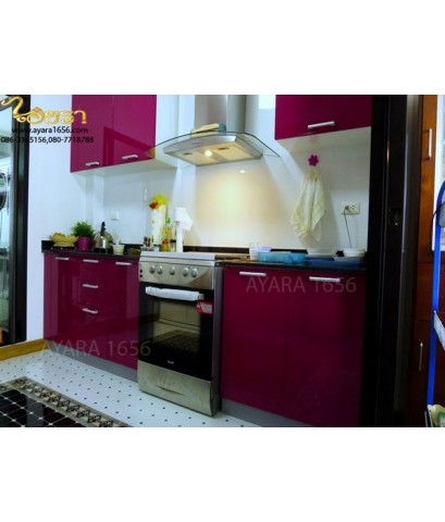 ชุดครัว Built-in ตู้ล่าง โครงซีเมนต์บอร์ด หน้าบาน Hi Gloss สีม่วง