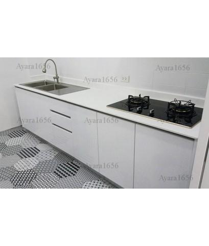 ชุดครัว Built-in ตู้ล่าง โครงซีเมนต์บอร์ด หน้าบาน PVC สีขาวนวล