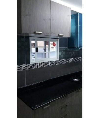 ชุดครัว Built-in ตู้ล่าง โครงซีเมนต์บอร์ด หน้าบาน Laminate สี Sarum Strand ลายไม้