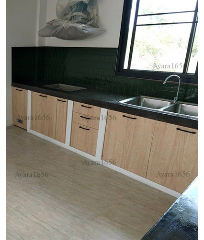 ชุดครัว Built-in ตู้ล่าง โครงซีเมนต์บอร์ด หน้าบาน Melamine สี Light Walnut ลายไม้