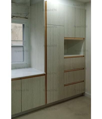 ชุดครัว Built-in ตู้ล่าง โครงซีเมนต์บอร์ด หน้าบาน Melamine สี Cassia Siamea ลายไม้