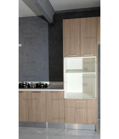 ชุดครัว Built-in ตู้ล่าง โครงซีเมนต์บอร์ด หน้าบาน Laminate สี Olive Afromosia ลายไม้แนวตั้ง