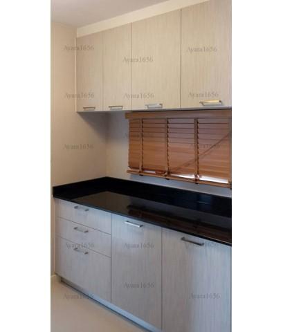 ชุดครัว Built-in ตู้ล่าง โครงซีเมนต์บอร์ด หน้าบาน Laminate สี Smoke Strand - ม.มัณฑนา