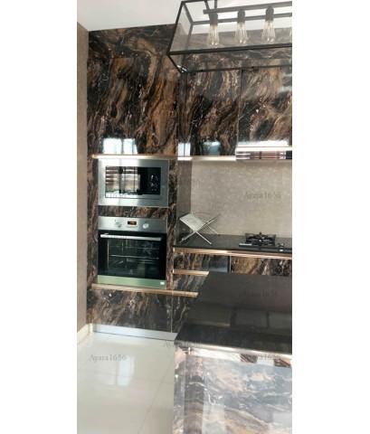ชุดครัว Built-in ตู้ล่าง โครงซีเมนต์บอร์ด หน้าบาน Laminate สี Mardled Cappuccino